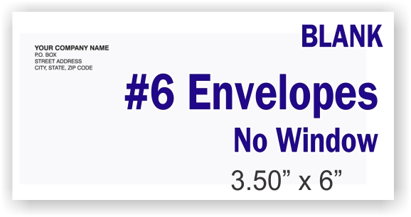 #6 White Business Envelope - NO Window - BLANK