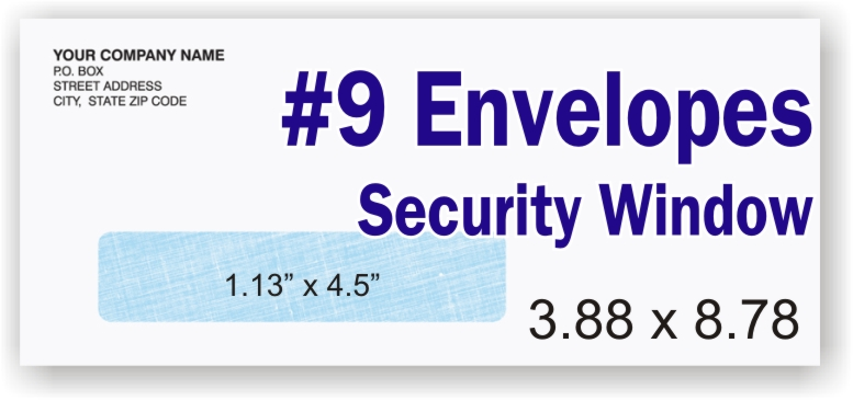 #9 White Security Envelope - Single Window