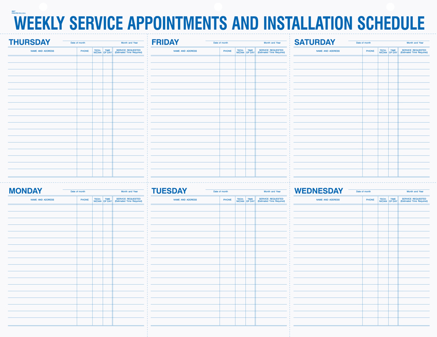 Weekly Service Appointment Pads