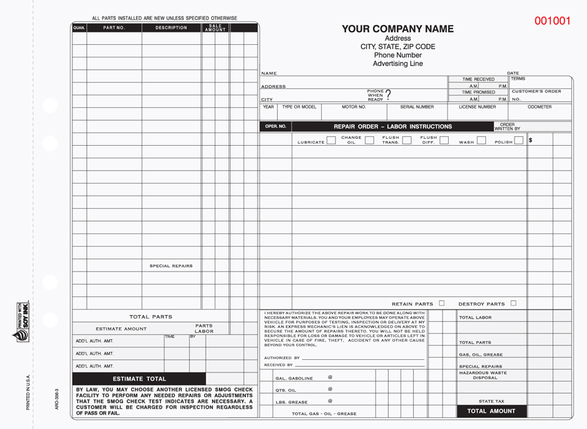 """Auto Repair Form - Unit Set - ARO-356 - 11""x8.5"" - 3 Part"""