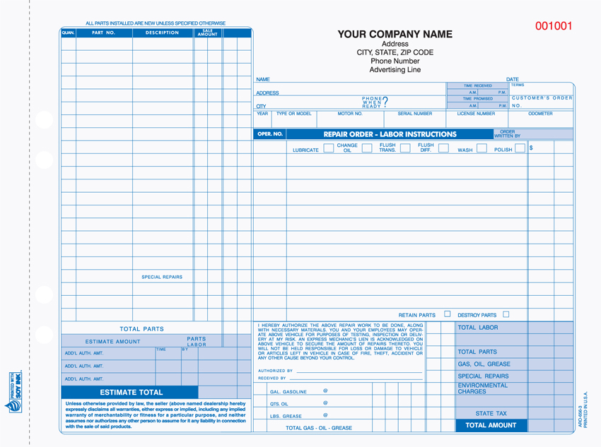 """Auto Repair Form - Unit Set - ARO-656 - 11""x8.5"" - 3 Part"""