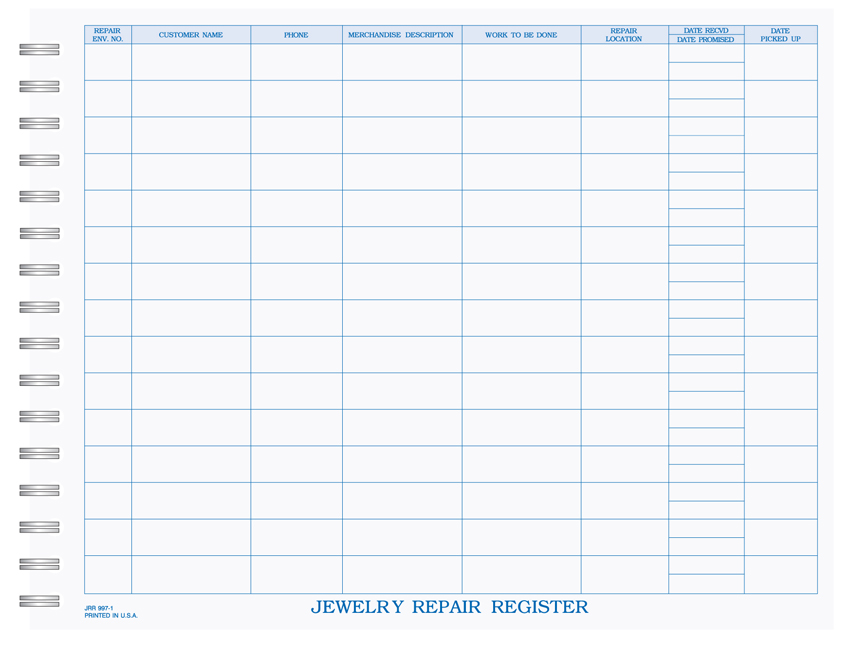 "Jewelry Repair Registry - Wire Bound Book - 8.5"" x 11"" - 1 PART"