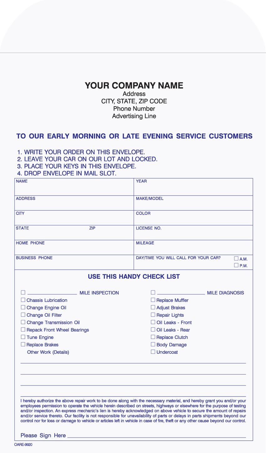Overnight Auto Repair Envelope