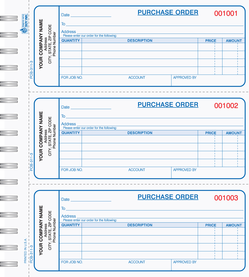 """Purchase Order Book - Wire Bound - POB-311 - 2.75""x6.75"" - 3 Pa"