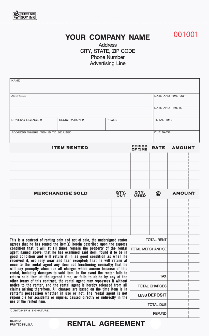 """Rental Agreement - 5.66"" x 8.5"" - Unit Set - 3 PART"""